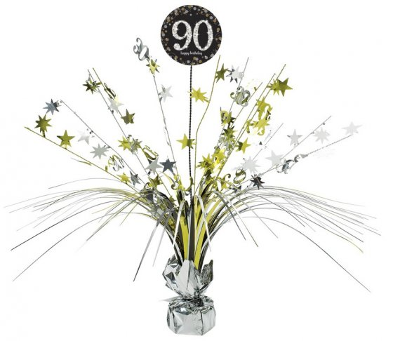 90TH BIRTHDAY WEIGHTED CENTREPIECE - SPARKLING BLACK & GOLD