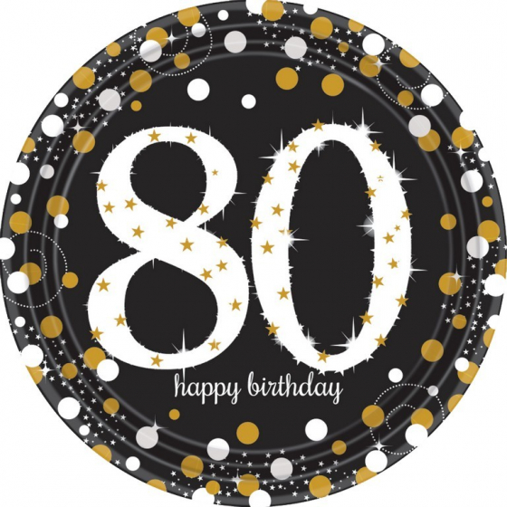 80TH BIRTHDAY DINNER PLATES SPARKLING CELEBRATION - PACK 8