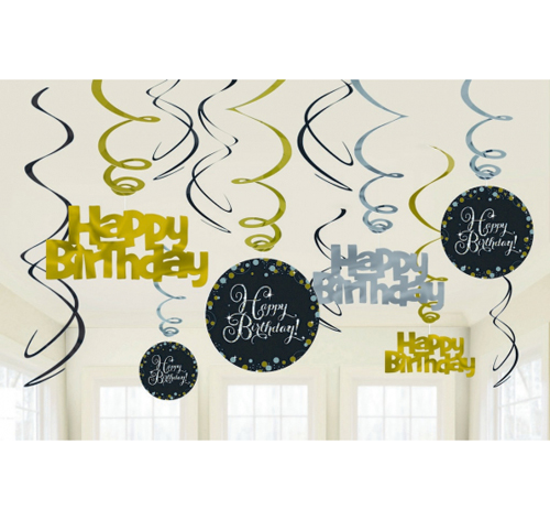 HAPPY BIRTHDAY SWIRLS SPARKLING CELEBRATION - PACK 12