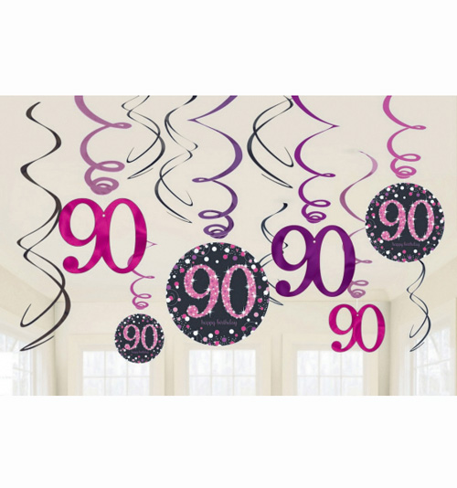 90TH BIRTHDAY HANGING SWIRLS - SPARKLING PINK PACK 12