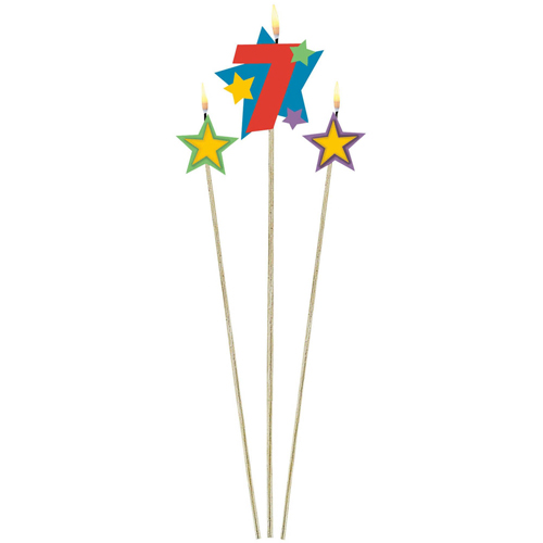7TH BIRTHDAY PARTY CANDLE MULTI COLOURED PICKS