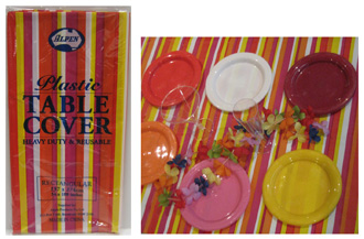 DISPOSABLE TABLECOVER - RED, PINK & YELLOW STRIPED