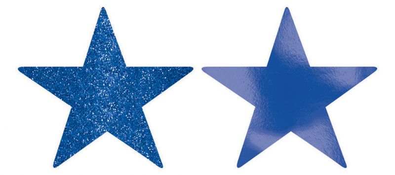 STARS - ROYAL BLUE FOIL & GLITTER 12CM - PACK 5