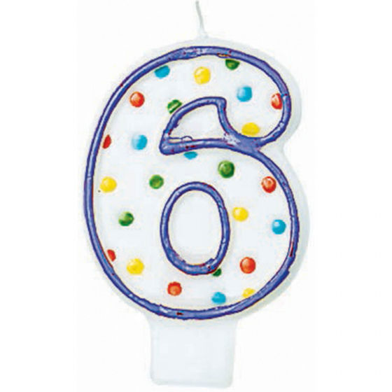 6TH BIRTHDAY PARTY CANDLE MULTI COLOURED POLKA