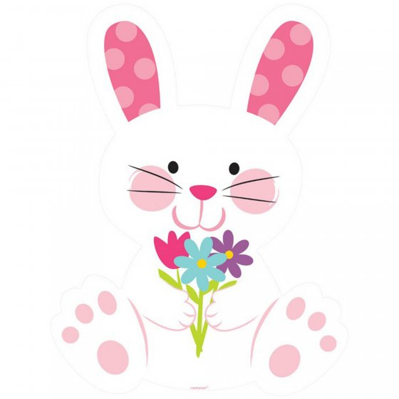 EASTER BUNNY WITH FLOWERS PRINTED CUT OUT