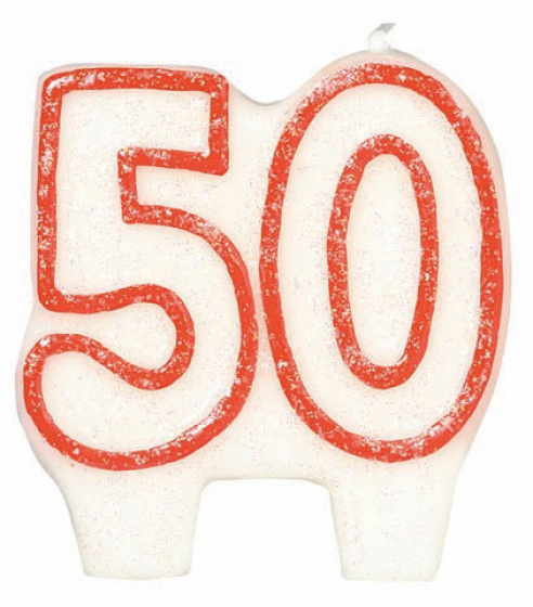 50TH BIRTHDAY/ANNIVERSARY PARTY CANDLE WHITE WITH RED PIPING