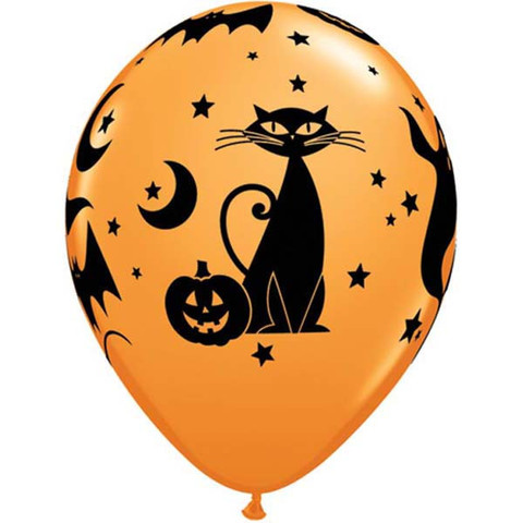 BALLOONS LATEX - SPOOKY BLACK CAT PACK 6