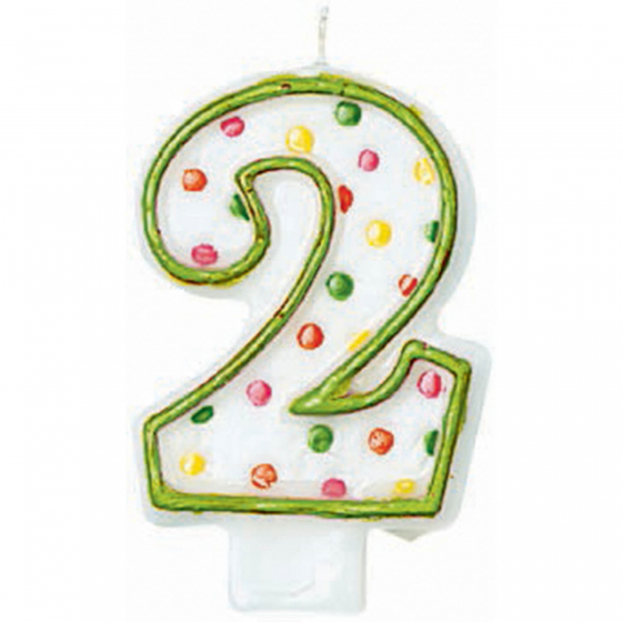 2ND BIRTHDAY PARTY CANDLE MULTI COLOURED POLKA