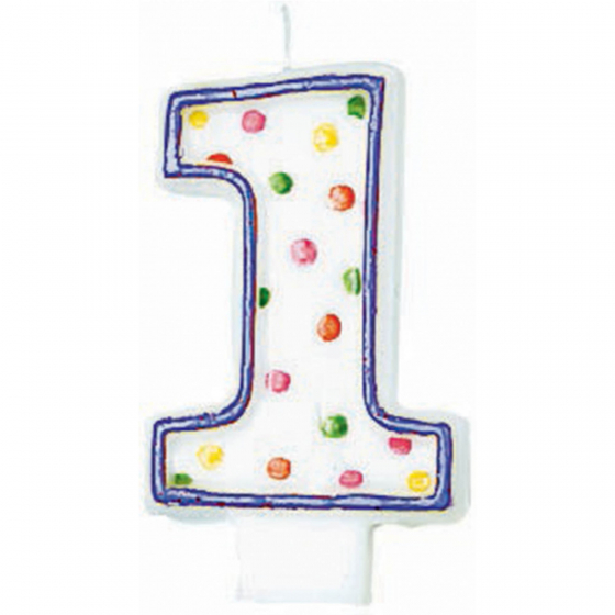 1ST BIRTHDAY PARTY CANDLE MULTI COLOURED POLKA