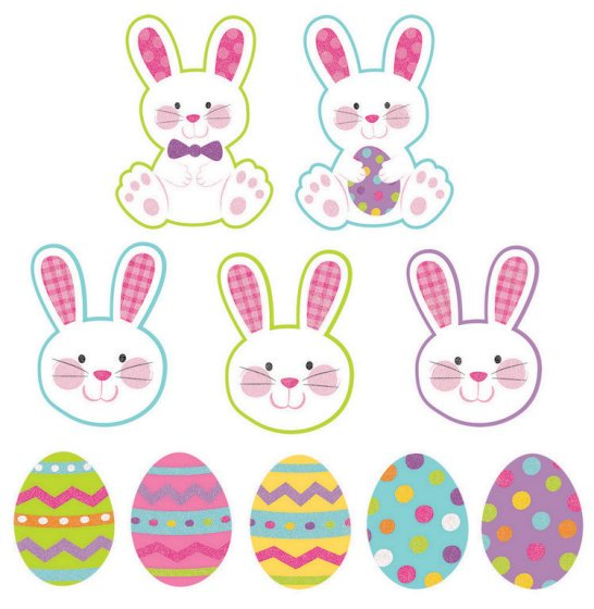 EASTER BUNNIES & EGGS GLITTER CUT OUTS - PACK OF 10