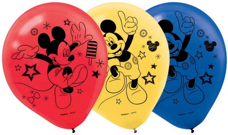 BALLOONS LATEX - MICKEY MOUSE ON THE GO - PACK OF 6