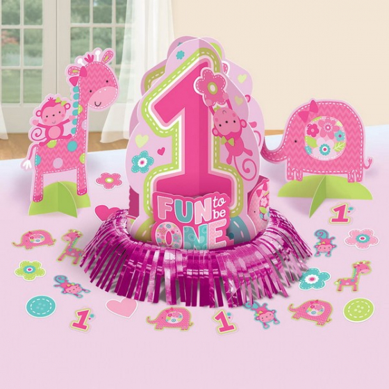 ONE WILD GIRL DESIGN 1ST BIRTHDAY TABLE DECORATING KIT