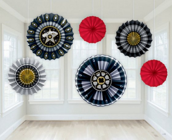 HOLLYWOOD MOVIE PAPER FANS - SET OF 6