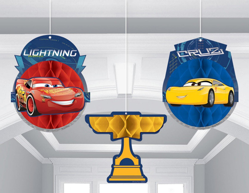 CARS 3 - HANGING HONEYCOMB DECORATIONS - PACK OF 3