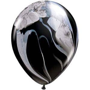 BALLOONS LATEX - SUPER AGATE BLACK & WHITE PACK OF 25