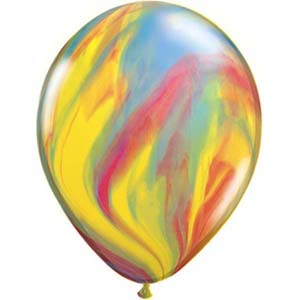 BALLOONS LATEX - SUPER AGATE RAINBOW PACK OF 25
