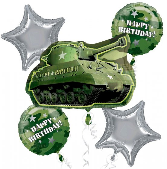 FOIL SUPER SHAPE BALLOON BOUQUET - CAMOUFLAGE ARMY TANK