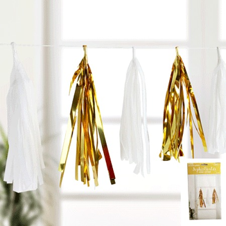 TISSUE & METALLIC PAPER TASSEL GARLAND - GOLD & WHITE 3M