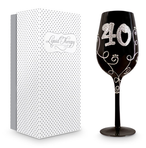 '40' BLACK DIAMONTE VINE WINE GLASS