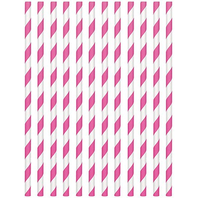 STRAWS - PAPER BRIGHT PINK STRIPE PACK OF 24