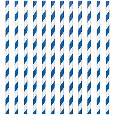 STRAWS - PAPER ROYAL BLUE & WHITE STRIPE PACK OF 24