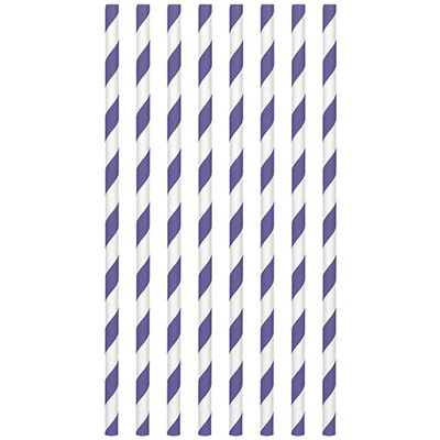 STRAWS - PAPER PURPLE STRIPE PACK OF 24