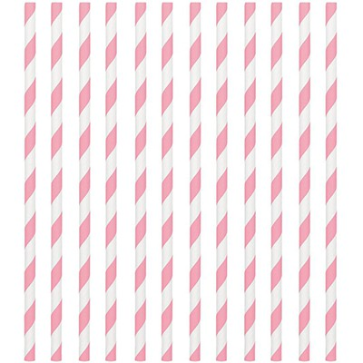 STRAWS - PAPER LIGHT PINK STRIPE PACK OF 24