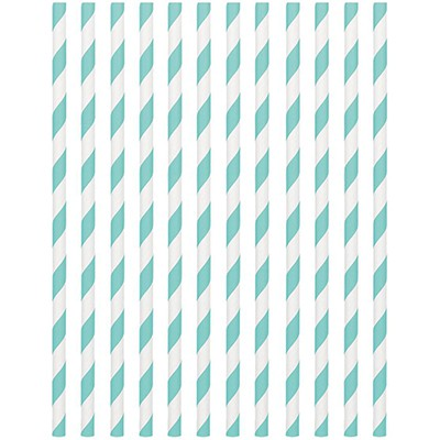 STRAWS - PAPER ROBIN'S EGG BLUE STRIPE PACK OF 24