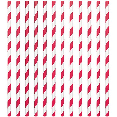 STRAWS - PAPER RED STRIPE PACK OF 24