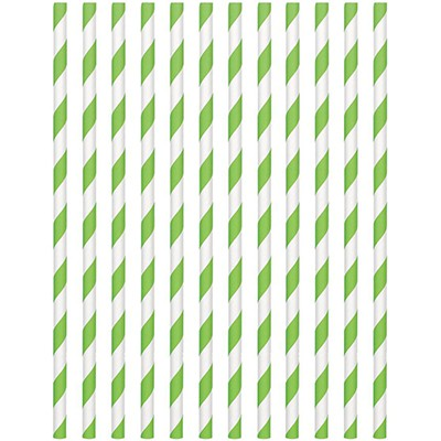 STRAWS - PAPER LIME GREEN STRIPE PACK OF 24