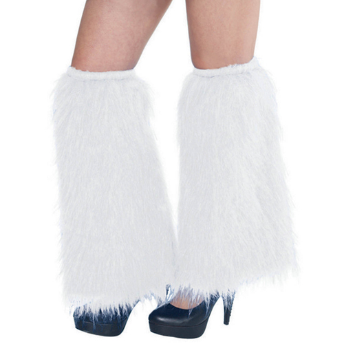 1980\'S PLUSH & FLUFFY BRIGHT WHITE LEG WARMERS