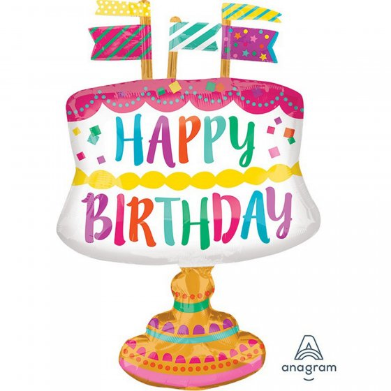 FOIL SUPER SHAPE BALLOON - BIRTHDAY FANCY CAKE MULTI COLOURS