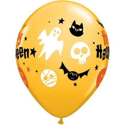 BALLOONS LATEX - ORANGE HALLOWEEN ICONS PACK OF 25