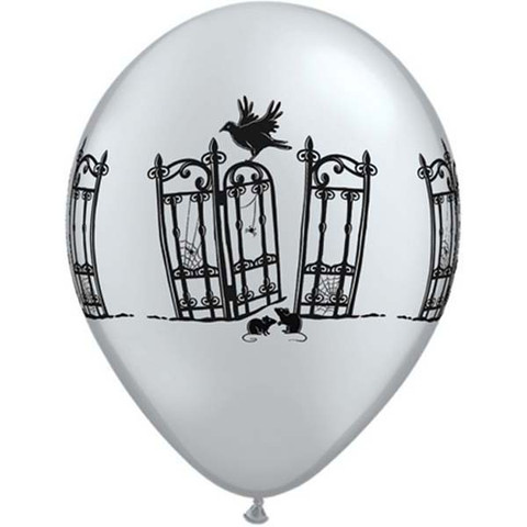 BALLOONS LATEX - BLACK & SILVER HAUNTED IRON GATE PACK 6