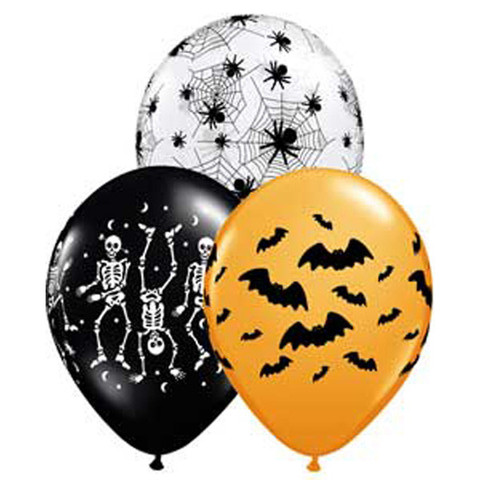 BALLOONS LATEX - SPOOKY ASSORTMENT PACK OF 6