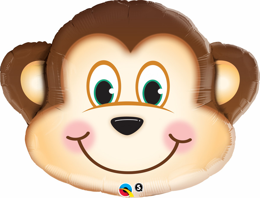 FOIL SUPER SHAPE BALLOON - SMILING MONKEY FACE