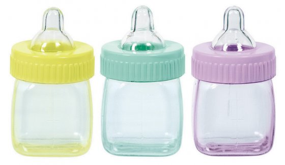 PARTY FAVOURS - BABY BOTTLE FILLABLE DECORATIONS PACK OF 6