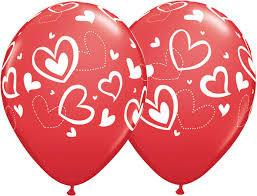 BALLOONS LATEX - MIX & MATCH HEARTS RUBY & WHITE PACK OF 50