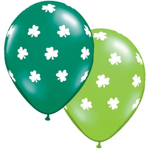 BALLOONS LATEX - ST PATRICKS SHAMROCK DESIGN PACK 6