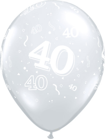 BALLOONS LATEX - 40TH BIRTHDAY DIAMOND CLEAR PACK 25
