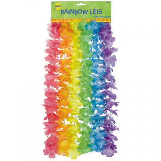 HAWAIIAN FLOWER LEIS - RAINBOW FLOWER - PACK OF 6