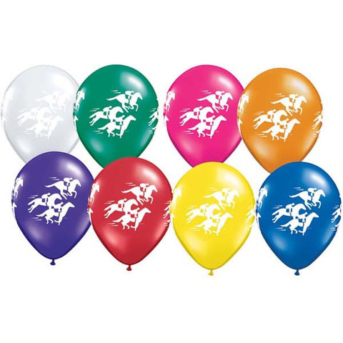 BALLOONS LATEX - HORSE AND JOCKEY PRINT PACK OF 25