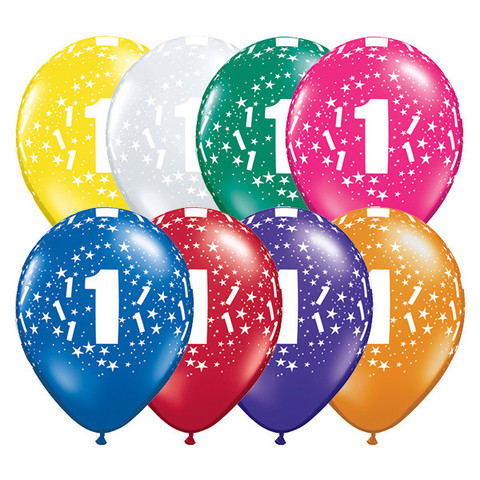 BALLOONS LATEX - 1ST BIRTHDAY JEWEL ASSORTMENT PACK OF 6