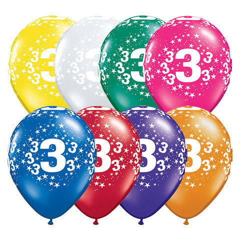 BALLOONS LATEX - 3RD BIRTHDAY JEWEL ASSORTMENT PACK OF 6