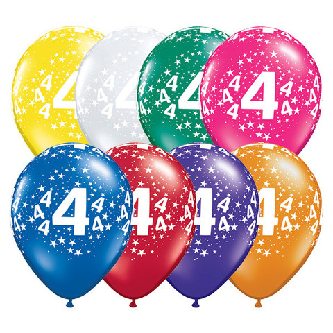 BALLOONS LATEX - 4TH BIRTHDAY JEWEL ASSORTMENT PACK OF 6