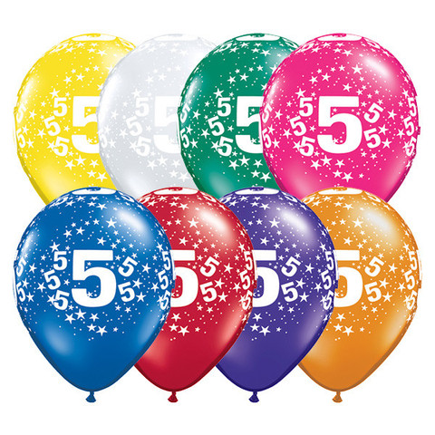BALLOONS LATEX - 5TH BIRTHDAY JEWEL ASSORTMENT PACK OF 6