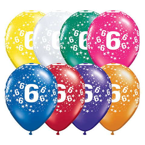 BALLOONS LATEX - 6TH BIRTHDAY JEWEL ASSORTMENT PACK OF 6