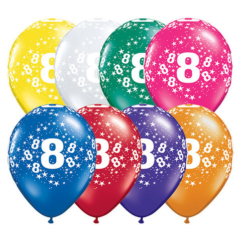 BALLOONS LATEX - 8TH BIRTHDAY JEWEL ASSORTMENT PACK OF 6