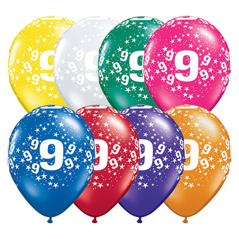 BALLOONS LATEX - 9TH BIRTHDAY JEWEL ASSORTMENT PACK OF 6