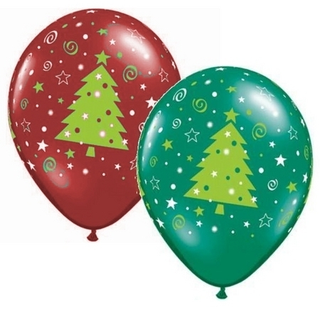 BALLOONS LATEX - CHRISTMAS TREE STARS & SWIRLS PACK OF 6